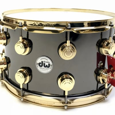 "DW DRVB0814SVG 8x14"" Collector's Series Black Nickel Over Brass Snare Drum"