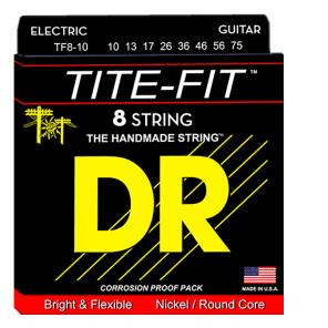 DR TF8-10 Tite Fit Nickel Plated 8-String Guitar Strings - Medium (10-75)