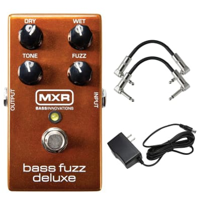 Jim Dunlop M84 MXR Bass Fuzz Deluxe with Power Supply and 2 Instrument Cable Bundle