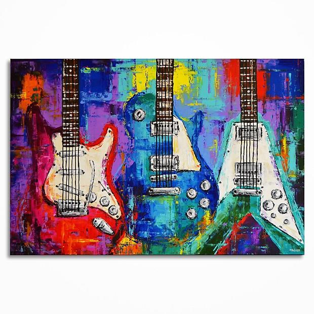 Handmade Guitar Painting On Canvas Guitar Wall Art Music Room Decor