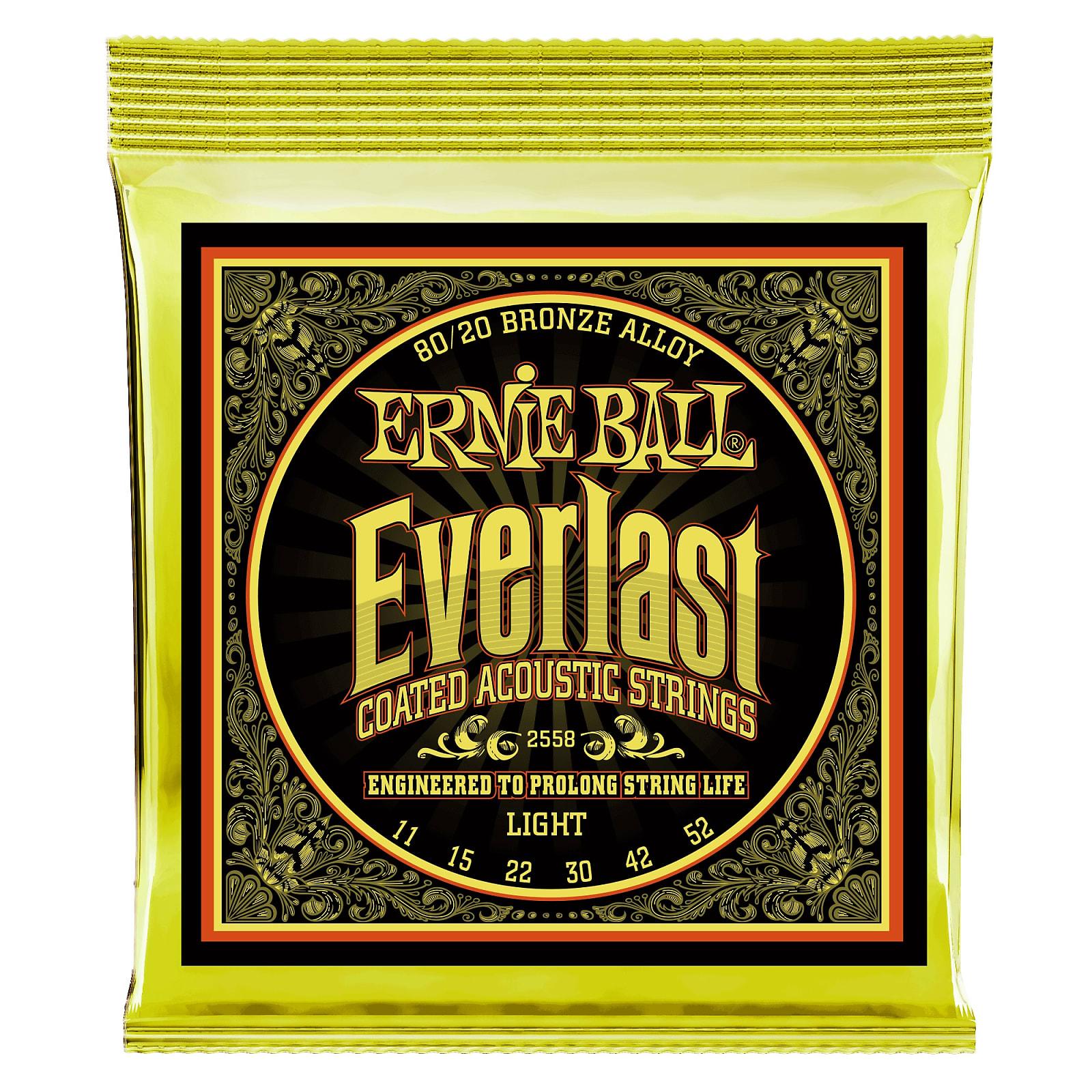 Ernie Ball Everlast Light Coated 80/20 Bronze Acoustic Guitar Strings - 11-52 G