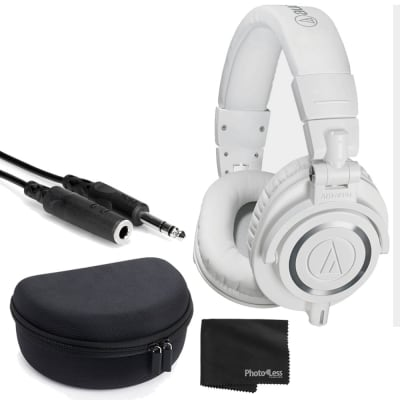 Audio-Technica ATH-M50x Closed-Back Professional Monitor Headphones - 90° Swiveling Earcups (White)