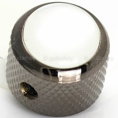NEW (1) Q-Parts Guitar Knob Black Chrome w/ ACRYLIC WHITE PEARL on Dome KBD-0052 for sale