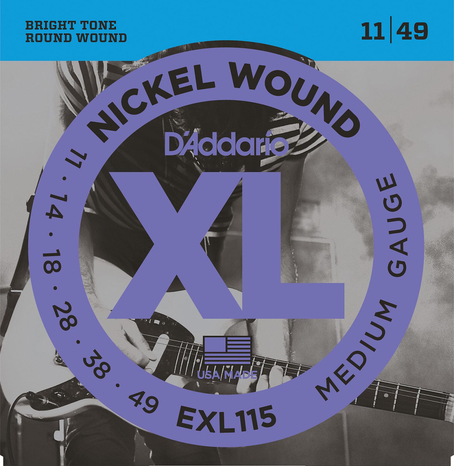 D'Addario EXL115 Nickel Wound Electric Guitar Strings, Medium/Blues-Jazz Rock,