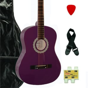De Rosa DK3810R-DPL Kids Acoustic Guitar Outfit Dark Purple w/Gig Bag, Pick, Strings, Pipe & Strap for sale