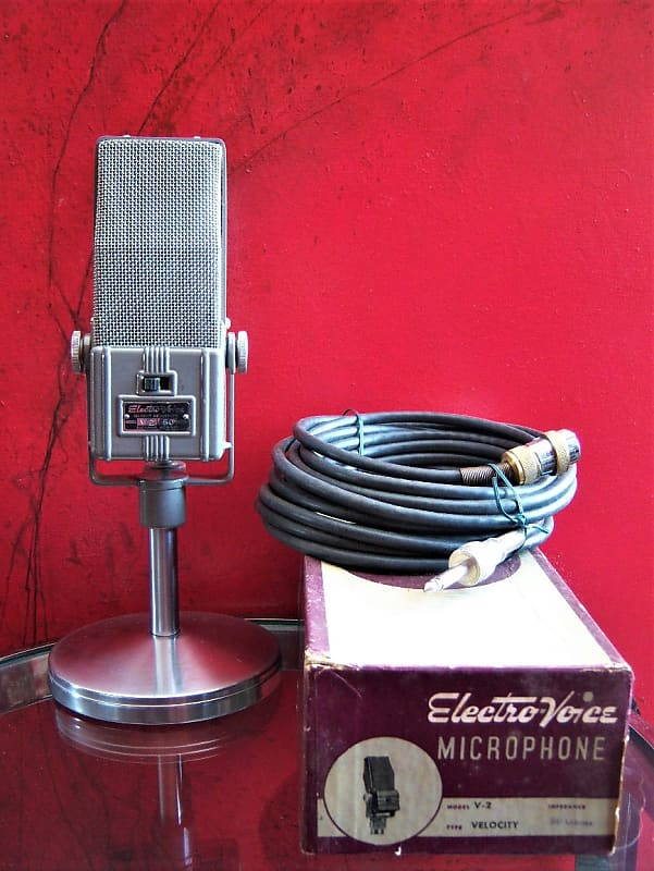 Vintage RARE Electro-Voice V-2 bi-directional Microphone grey w accessories