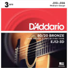 Daddario EJ12 80/20 Bronze Acoustic Guitar Strings - Medium - 13-56 - 3 Sets image