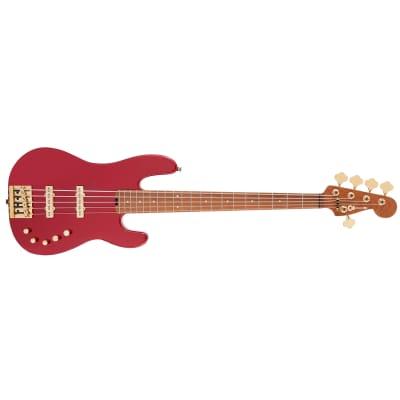 Charvel Pro-Mod San Dimas Bass JJ V Guitar, Caramelized Maple, Candy Apple Red for sale