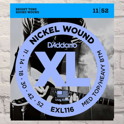 D'Addario EXL116 Med Top Heavy Btm Nickel Wound Electric Guitar Strings 11-52
