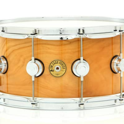 """Drum Workshop 14"""" x 7"""" Jazz Series Snare Drum Exotic Natural Lacquer Over Rotary Cherry W/ Chrome Hardware - Mint, Open Box"""