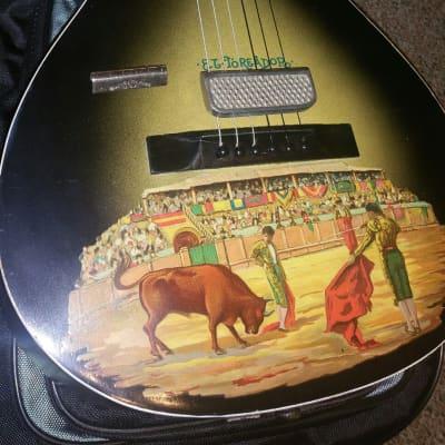 Santacilla EL-Toreador 1930s Oscar Schmidt Newly Reseated Neck .. Hand-painted Guitar With Original Case And Slide