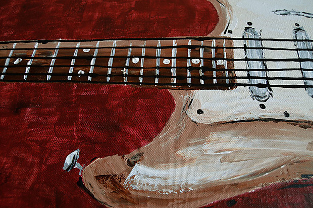 Music Room Decor Art Guitar Wall Original Painting On Canvas