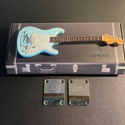 Tom Delonge Fender & Squier Neckplate Lot with Signed Mini Axe Heaven Replica for sale