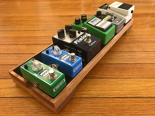 Wood Guitar Pedal Board 18x6 Quot Red Oak Mini Effects Reverb