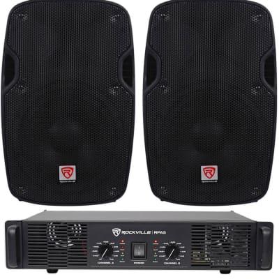 """2) Rockville SPG84 8"""" 800W 4 Ohm PA Speakers ABS Cabinet+RPA4 1000w Amplifier"""