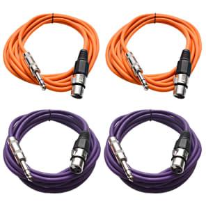 "Seismic Audio SATRXL-F10-2ORANGE2PURPLE 1/4"" TRS Male to XLR Female Patch Cables - 10' (4-Pack)"