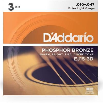 D'Addario EJ15-3D Phosphor Bronze Acoustic Guitar Strings 3-Pack, Extra Light Gauge