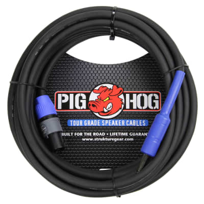 "PIG HOG 25FT SPEAKER CABLE 14 GAUGE Neutrik NL2FX SPEAKON to 1/4"" PHSC25S14"