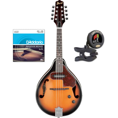 Ibanez M510EBS A-Style Mandolin, Brown Sunburst High Gloss with Strings and Tuner