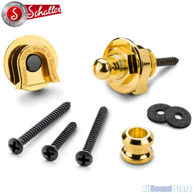 NEW Genuine Schaller GOLD Strap Lock System for Guitar & Bass, Made in Germany image
