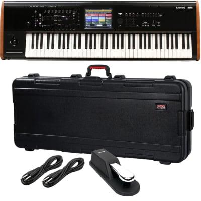 Korg Kronos 2 73-key Synthesizer Workstation, Gator GTSA-KEY76D Case, Sustain Pedal, (2) 1/4 Cables Bundle