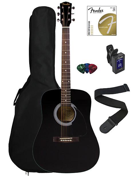 b7cd58fd1c Fender FA-100 Dreadnought Acoustic Guitar - Black w/ Gig Bag | Reverb