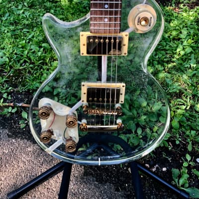 Galveston Left Handed / Lefty single cut guitar See Through Lucite Acrylic w/ fitted Hardshell Case for sale