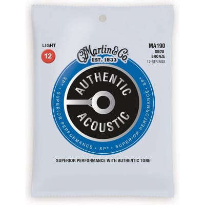 New Martin MA190 Authentic Acoustic SP 80/20 Bronze 12-String Acoustic Guitar Strings, Light