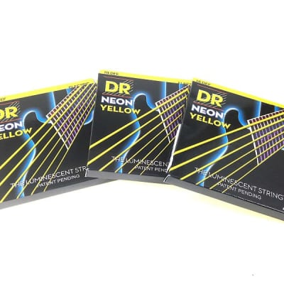 DR Strings Guitar Strings 3 Pack Electric Neon Yellow 11-50 Heavy