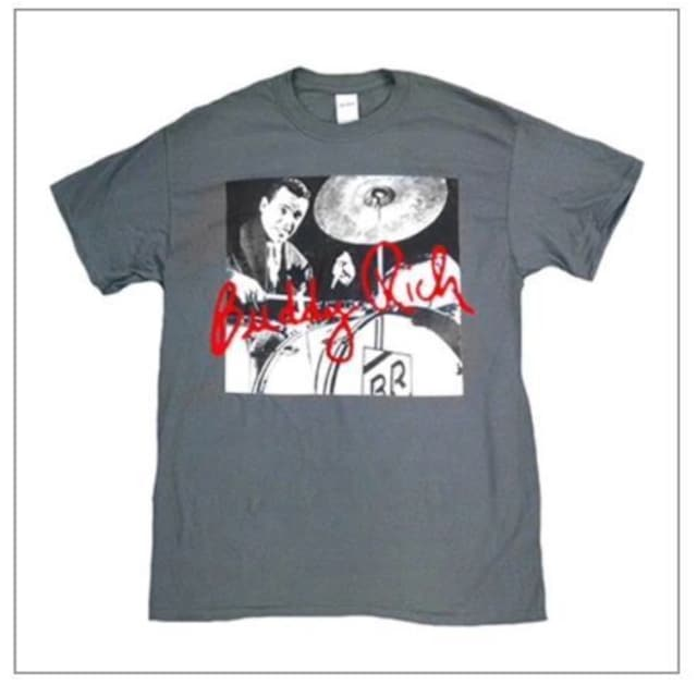 Buddy Rich gifts and apparel, Traps the drum wonder red signature t shirt LARGE image