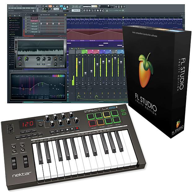 Nektar Impact LX25+ 25-Key MIDI Controller Keyboard + FL Studio 12 Fruity  Loops