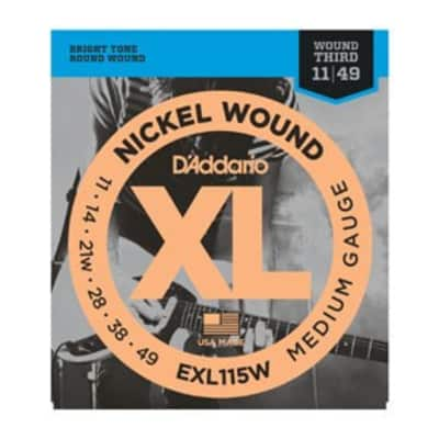 D'Addario EXL115w Nickel Electric Strings, Medium/Blues-Jazz Rock, Wound 3rd, 11-49