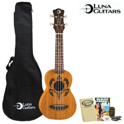 Luna Guitars Honu Soprano (UKE-HONU) Ukulele Kit - Includes: Gig Bag, Quick Start Chord Guide, Cloth & Tuner for sale