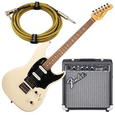 Godin 048434 Session HT Trans Cream RN, Fender Frontman 10G Electric Guitar Amplifier, GLS 15 FT Guitar Cable Bundle