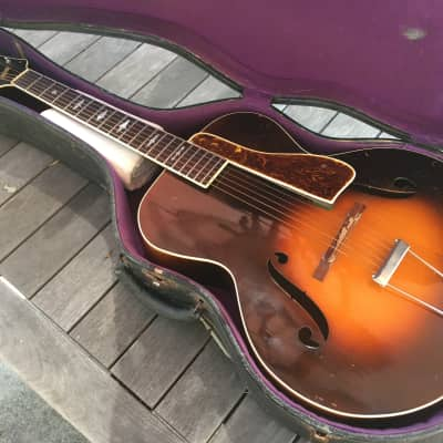 Slingerland Nitehawk Acoustic Archtop Guitar & HSC 1930s Sunburst for sale