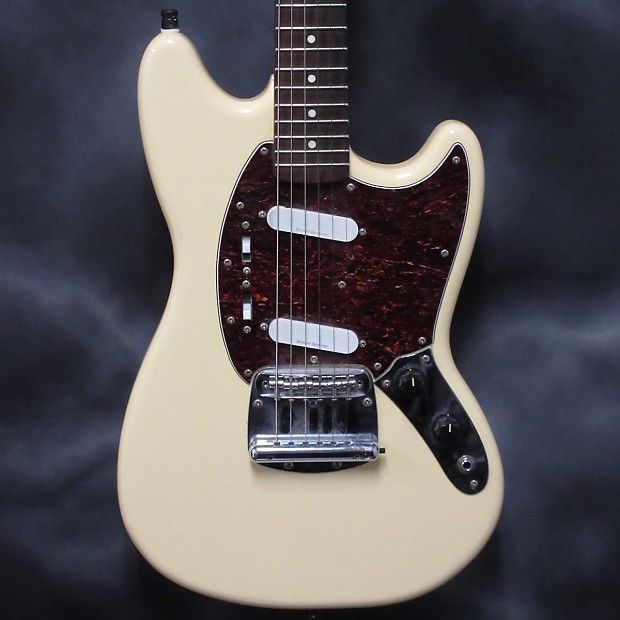 squier vintage modified mustang electric guitar vintage white reverb