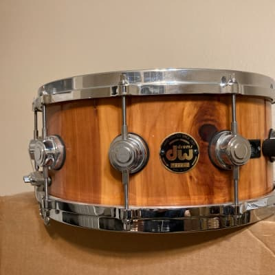 DW Craviotto Exotic Cedar 6.5x14 Snare Drum with May Mic Hand Signed by Johnny