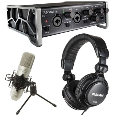 Tascam US2X2TP TrackPack USB Audio Interface Home Recording Package with TM-80 Condenser Mic, TH02 Headphones