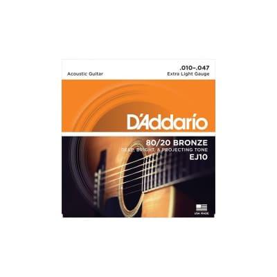 D'Addario EJ10 80-20 Bronze 10-47 Acoustic Strings