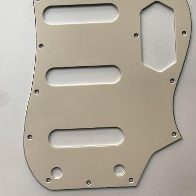 Fits Squier Vintage Modified Bass VI Guitar pickguard , 3 Ply Vintage Yellow  Pickguard