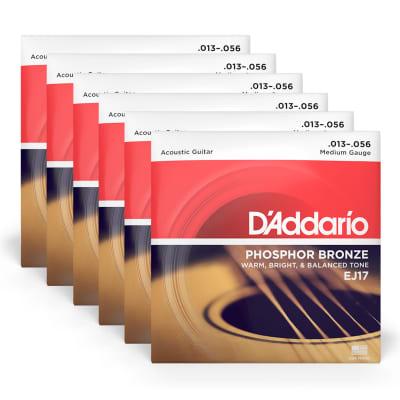 D'Addario EJ17 Acoustic Phosphor Bronze Medium 13-56 6 Pack Bundle
