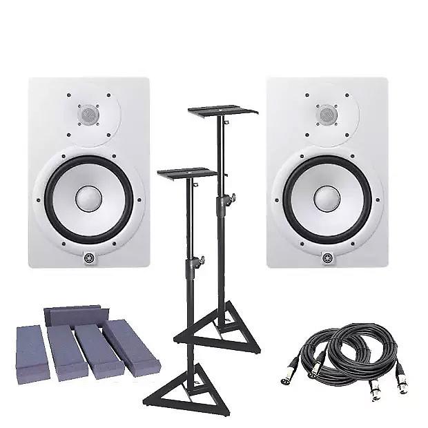 Yamaha Hs8 White Pair W Monitors Stand Pair 2 Xlr