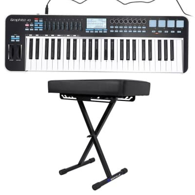 Samson Graphite 49 Key USB MIDI DJ Keyboard Controller w/ Aftertouch/Fader+Bench