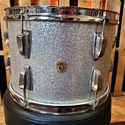 "Vintage Ludwig 13"" Silver Sparkle Tom 60's era Keystone Badge Red Muffler"