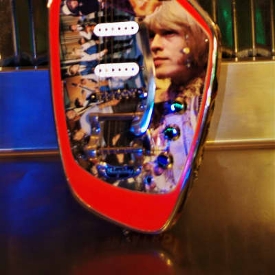 Phantom Phantom Brian Jones Memorabilia Guitar.  Art.  VOX style. ONLY ONE. Collectible.  2005 Collage for sale