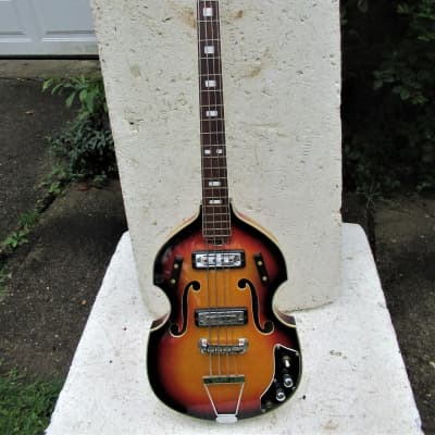Kimberly Violin Bass Guitar, 1960's, Japan, Sunburst,  2 PU. Plays & Sounds Good for sale