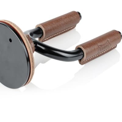 Levy's Black Forged Guitar Hanger w/ Brown Leather for sale