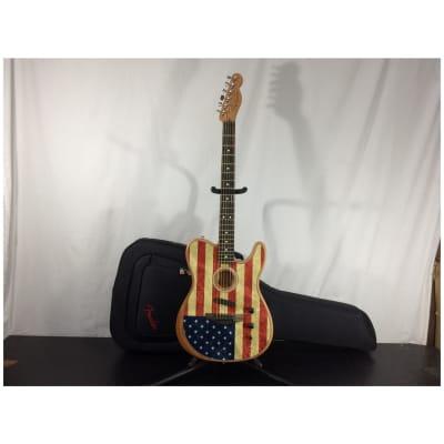 Fender American Acoustasonic Telecaster Acoustic-Electric Guitar, Flag w/ Bag