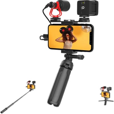 Mirfak Vlog Kit MVK01 Includes Extension Pole, LED Fill Light, Microphone and Tripod