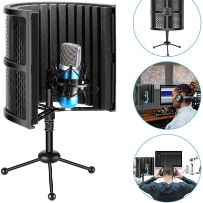 Tabletop Compact Microphone Isolation Shield with Tripod Stand Pop Filter Shield